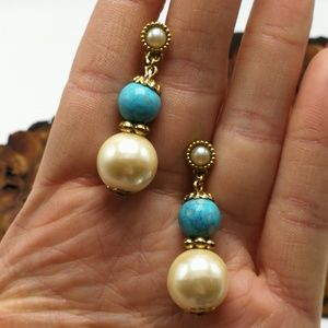 Vintage Pearl faux turquoise Southwest Gold ivory